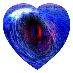 Blue Red Eye Space Hole Galaxy Jigsaw Puzzle (heart)