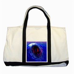 Blue Red Eye Space Hole Galaxy Two Tone Tote Bag