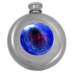 Blue Red Eye Space Hole Galaxy Round Hip Flask (5 Oz)