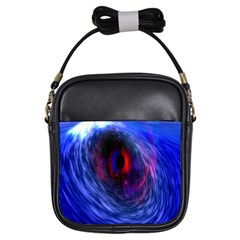 Blue Red Eye Space Hole Galaxy Girls Sling Bags