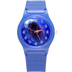 Blue Red Eye Space Hole Galaxy Round Plastic Sport Watch (s)