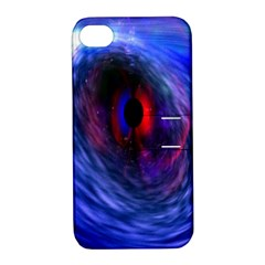 Blue Red Eye Space Hole Galaxy Apple Iphone 4/4s Hardshell Case With Stand