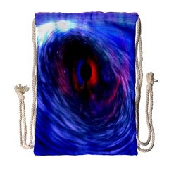 Blue Red Eye Space Hole Galaxy Drawstring Bag (large)