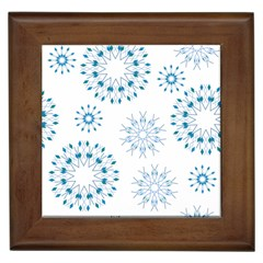 Blue Winter Snowflakes Star Triangle Framed Tiles