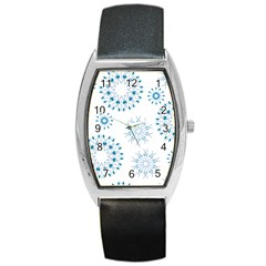Blue Winter Snowflakes Star Triangle Barrel Style Metal Watch
