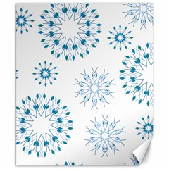 Blue Winter Snowflakes Star Triangle Canvas 8  X 10