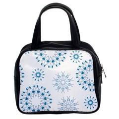 Blue Winter Snowflakes Star Triangle Classic Handbags (2 Sides)