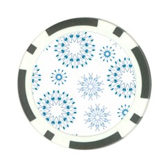 Blue Winter Snowflakes Star Triangle Poker Chip Card Guard (10 Pack)