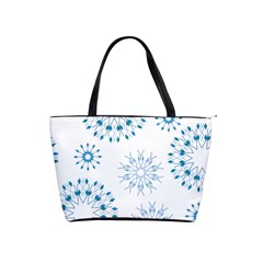 Blue Winter Snowflakes Star Triangle Shoulder Handbags