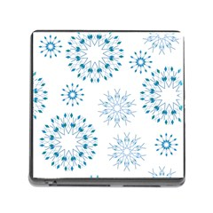 Blue Winter Snowflakes Star Triangle Memory Card Reader (square)