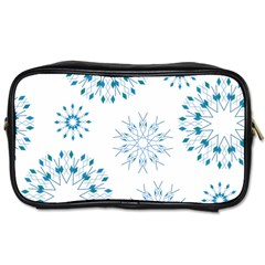 Blue Winter Snowflakes Star Triangle Toiletries Bags 2 Side