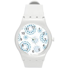 Blue Winter Snowflakes Star Triangle Round Plastic Sport Watch (m)