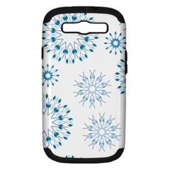 Blue Winter Snowflakes Star Triangle Samsung Galaxy S Iii Hardshell Case (pc+silicone)