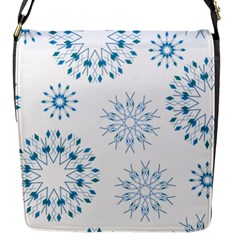 Blue Winter Snowflakes Star Triangle Flap Messenger Bag (s)