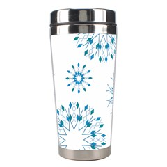 Blue Winter Snowflakes Star Triangle Stainless Steel Travel Tumblers