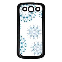 Blue Winter Snowflakes Star Triangle Samsung Galaxy S3 Back Case (black)