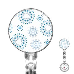 Blue Winter Snowflakes Star Triangle Stainless Steel Nurses Watch