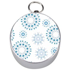 Blue Winter Snowflakes Star Triangle Silver Compasses
