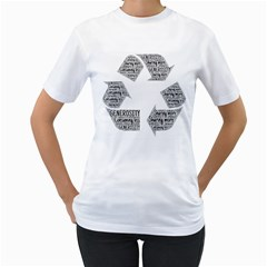 Recycling Generosity Consumption Women s T Shirt (white) (two Sided)