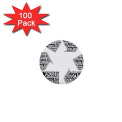 Recycling Generosity Consumption 1  Mini Buttons (100 Pack)