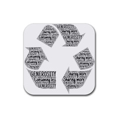Recycling Generosity Consumption Rubber Coaster (square)