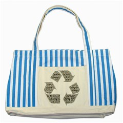 Recycling Generosity Consumption Striped Blue Tote Bag