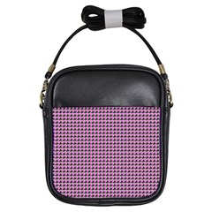 Pattern Grid Background Girls Sling Bags