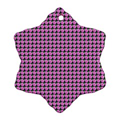 Pattern Grid Background Snowflake Ornament (two Sides)