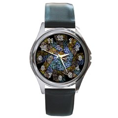 Multi Color Tile Twirl Octagon Round Metal Watch