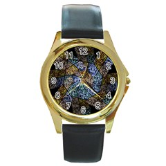 Multi Color Tile Twirl Octagon Round Gold Metal Watch