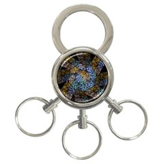 Multi Color Tile Twirl Octagon 3 Ring Key Chains