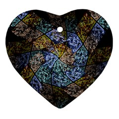 Multi Color Tile Twirl Octagon Heart Ornament (two Sides)