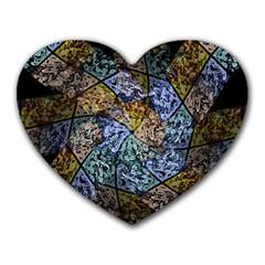 Multi Color Tile Twirl Octagon Heart Mousepads