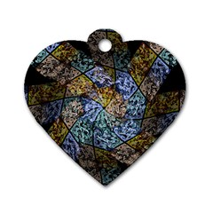 Multi Color Tile Twirl Octagon Dog Tag Heart (two Sides)
