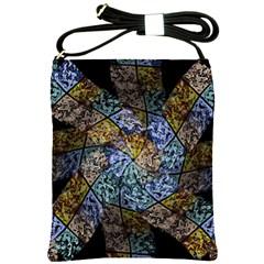 Multi Color Tile Twirl Octagon Shoulder Sling Bags
