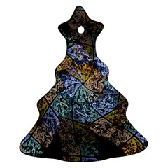 Multi Color Tile Twirl Octagon Ornament (christmas Tree)