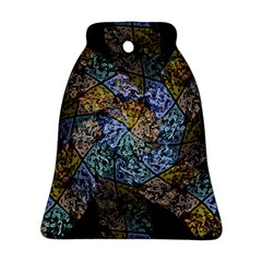 Multi Color Tile Twirl Octagon Bell Ornament (two Sides)