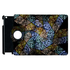 Multi Color Tile Twirl Octagon Apple Ipad 3/4 Flip 360 Case