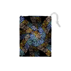 Multi Color Tile Twirl Octagon Drawstring Pouches (small)