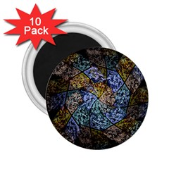 Multi Color Tile Twirl Octagon 2 25  Magnets (10 Pack)