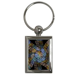 Multi Color Tile Twirl Octagon Key Chains (rectangle)