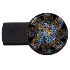 Multi Color Tile Twirl Octagon Usb Flash Drive Round (2 Gb)