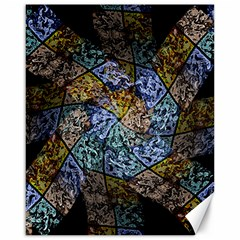 Multi Color Tile Twirl Octagon Canvas 16  X 20