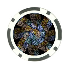 Multi Color Tile Twirl Octagon Poker Chip Card Guard