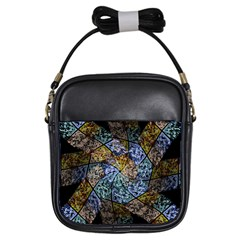 Multi Color Tile Twirl Octagon Girls Sling Bags
