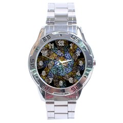Multi Color Tile Twirl Octagon Stainless Steel Analogue Watch