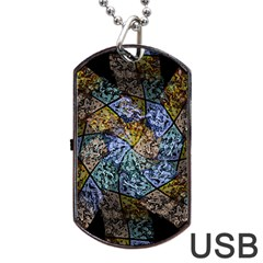 Multi Color Tile Twirl Octagon Dog Tag Usb Flash (two Sides)