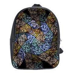 Multi Color Tile Twirl Octagon School Bag (xl)