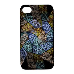 Multi Color Tile Twirl Octagon Apple Iphone 4/4s Hardshell Case With Stand