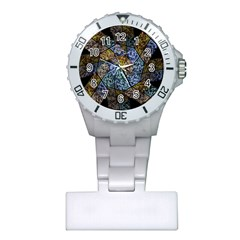 Multi Color Tile Twirl Octagon Plastic Nurses Watch